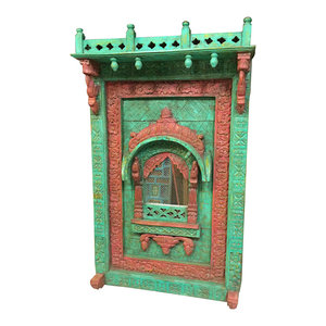 Mogul Interior - Consigned Arched Mirror Frame Jharokha Wall Decor Red Green Patina - Wall Mirrors