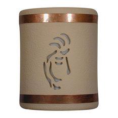 "9.5"" Round Open Top Ceramic Wall Sconce, Kokopelli Center Cut Design, Tan"