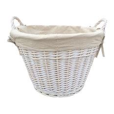 White Wash Cotton Lined Log Basket