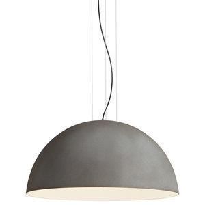 Rugiada Pendant Lamp, Concrete and White, Unpolished Surface, Small