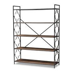 Mirna, Industrial Black Iron and Natural Oak 5-Shelf Quatrefoil Accent Bookcase