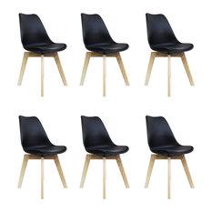 Scandi Wood X Dining Chair, Black, Set of 6