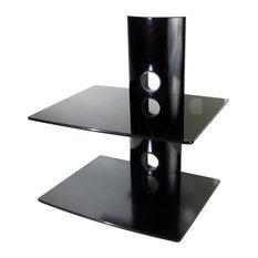 Mount-It! Floating Wall Mounted Shelf Bracket Stand, 44lbs Capacity, Dual Glass