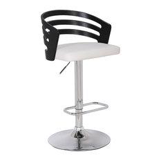 Modern Wood Back Adjustable Swivel Bar Stool With Cushion Black