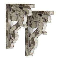American Art Decor - Rustic Farmhouse Wooden Corbel Shelf Brackets, Set of 2 - Corbels
