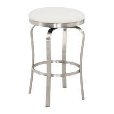 """Chintaly 1193 Modern Backless Counter Stool, White, 25.98"""""""