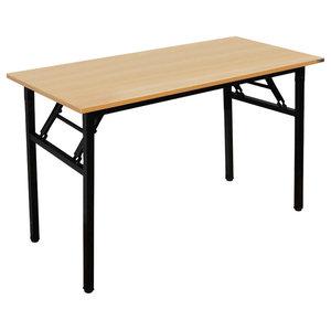 Modern Stylish Table Desk, Particle Board, Metal Legs, Folding Design Teak/Black