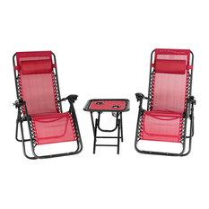 3PC Zero Gravity Folding Adjustable Patio Beach Yard Lounge Chairs W/ Table Red