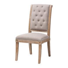 Baxton Studio Charmant Beige Fabric Weathered Oak Wood Dining Chair