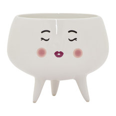 "Three Hands 5.25"" Ceramic Planter, White"