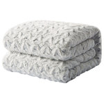 Tache Home Fshion - Tache Faux Fur Snowy Gray Throw Bed Blanket, 90x90 - A super soft and warm blanket that will soon become a household favorite. Give it as a gift for just about any occasion. The luxuriously soft sherpa will envelop you and keep you cozy on the coldest of days. Available in several colors, there is one to match any taste and decor. Three sizes available for any need.