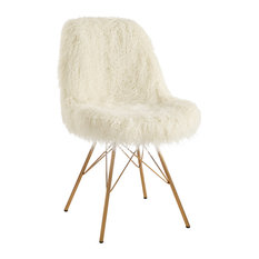 Faux Fur Upholstered Accent Chair With Angled Legs White And Gold