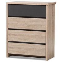 Modern And Contemporary Two -Tone Oak And Gray Wood 4, Drawer Chest