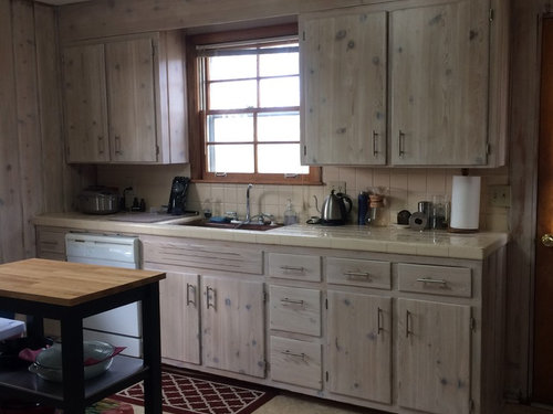 Moderizing Knotty Pine Kitchen - need floor and counter help
