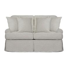 Horizon T-Cushion Slipcovered Loveseat, Light Gray