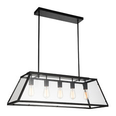 "36"" 5-Light Chandelier With Black Finish"
