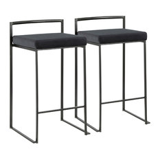 Lumisource Fuji Counter Stool, Black With Black Velvet, Set of 2