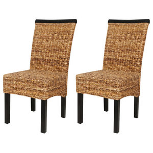 vidaXL Dining Chairs With Trim, Brown, Set of 2