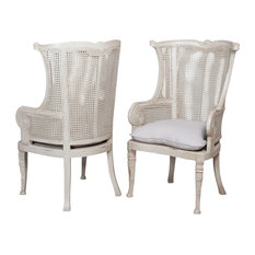 Caned Wing Back Set Of 2 Signature Ice Grey Modern Lounge Dining Chair