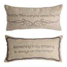 Great Mom Gift Quote Pillow With Removable Blue Bow Mother Present