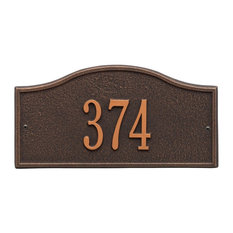 "Whitehall Personalized Small Metal (12"" x 6"") Address Plaque - Bronze"