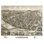 """Ted's Vintage Art - Old Map of Lewisburgh Pennsylvania 1884, Vintage Map Art Print, 24""""x36"""" - Old Map of Lewisburgh, Pennsylvania - 1884"""