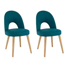 Oslo Oak Teal Upholstered Chairs, Set of 2