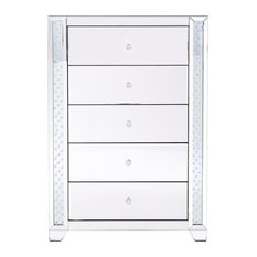 34-inch Clear Crystal Mirrored Five Drawer Cabinet