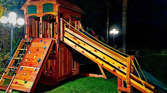 custom redwood swing set