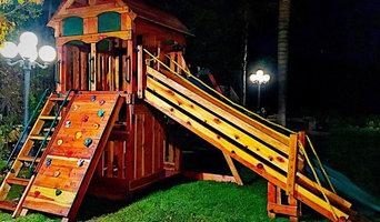 custom redwood swing set