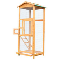 "PawHut 65"" Large Wooden Vertical Outdoor Aviary Bird Cage With 2 Middle Doors"