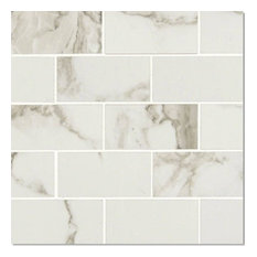 "12""x12"", Pietra Statuario White Polished Subway Tile Bathroom Kitchen Backsplash"