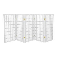 3' Tall Window Pane Shoji Screen, White, 5 Panels