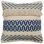 Pillow Decor Ltd. - Pillow Decor - Ojai Blue Bohemian Pillow 20x20 - Made from 100% cotton, the 20 inch square Ojai Blue Bohemian Pillow has a soft denim blue pattern in chenille woven into a rich textured broadweave fabric. Embellished with a soft fringe, this hand-loomed pillow combines the best of creative Boho style with contemporary flair.