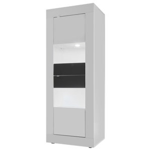 Dolcevita Narrow Display Cabinet, White Gloss/Grey