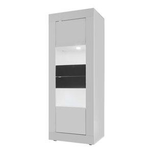 Dolcevita Narrow Display Cabinet, White Gloss/Grey