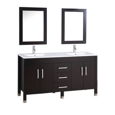 Monaco Double Sink Bathroom Vanity Set, Espresso, 84""
