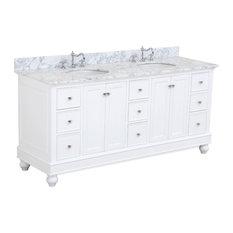 "Bella 72"" Double Bath Vanity, Base: White, Top: Carrara Marble"