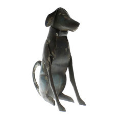 Reclaimed Metal Sitting Dog, Small