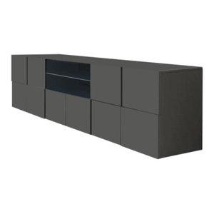 Diana TV Unit, LED Lights, 181 cm, Grey Gloss