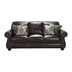 Simon Li Furniture   Simon Li Traditional Leather Sofa, Ghost   Sofas