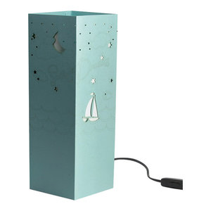 """Sweet Dreams"" Boat Paper Table Lamp, Light Blue"