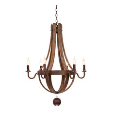 rustic wine barrel stave reclaimed wood rust metal chandelier with candle light,