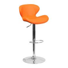 Flash Furniture Faux Leather Adjustable Bar Stool In Orange
