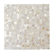 """12""""x12"""" Serene Square Mother of Pearl Patterned Tile, White"""