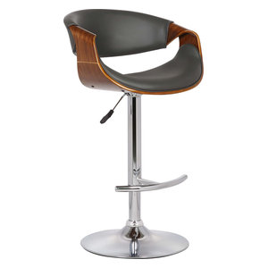 Butterfly Swivel Bar Stool, Walnut and Gray