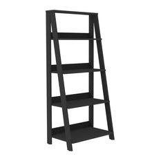 "55"" Wood Ladder Bookshelf, Black"