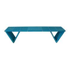 "GloDea Backless Wood Bench, 72"", Gypsy Teal"
