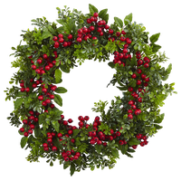 Berry Boxwood Wreath in Green and Red