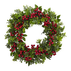 "Nearly Natural, Inc. - 24"" Berry Boxwood Wreath - Wreaths and Garlands"